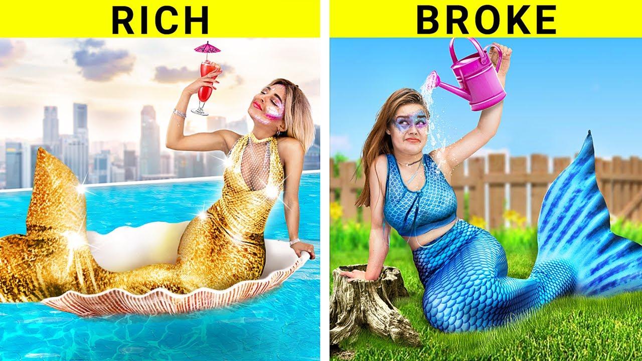 Rich vs Broke Mermaid / Funny Situations