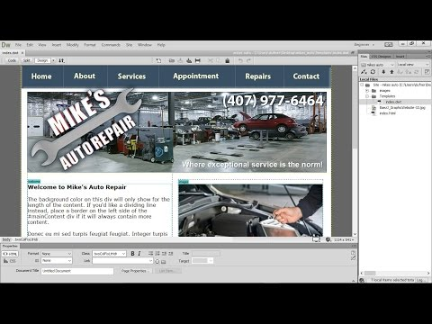 slicing in photoshop export to dreamweaver, make template with css