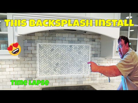 Time lapse marble tile backsplash install