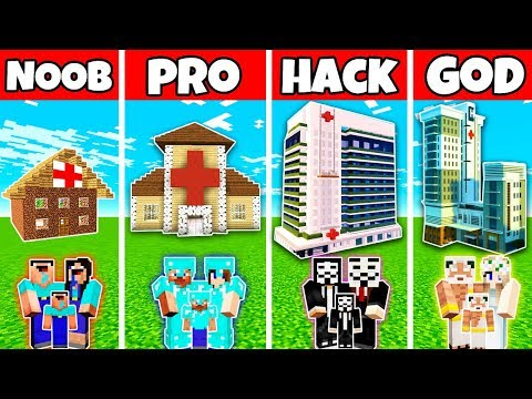 Minecraft: FAMILY HOSPITAL BUILD CHALLENGE - NOOB vs PRO vs