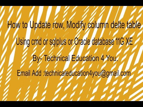 How TO DELETE ROW, MODIFY, UPDATE COLUMN, DROP TABLE in Oracle SQL Using Cmd [Hindi/Urdu].