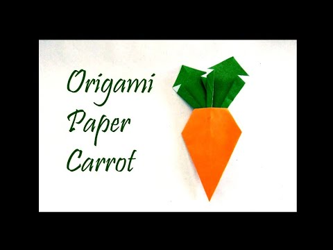 Origami Paper Carrot- making video- easy- a4 colour paper