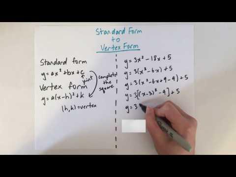 EASY! Convert Standard Form to Vertex Form