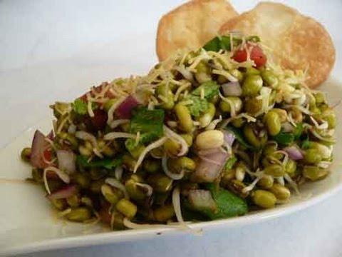 Sprouted Mung Bhel - Healthy Chaat Recipe Indian Recipe