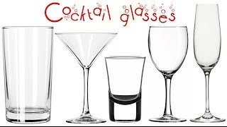 A well-equipped bar has many types of cocktail glasses - each type for a particular kind of drink. This is a guide to the glasses that are available for cocktails.  Highball: The tall, straight highball glass typically holds between 12 and 14 ounces of liquid. The base and rim of the glass are the same size. Highball glasses are often used to serve Bloody Marys and mixed drinks Drinks served in highball glasses are commonly served with ice.  Martini glass: Also referred to as the classic cocktail glass, the martini glass has a slim stem and a wide, cone-shaped bowl. The cone shape of the bowl helps to keep ingredients from separating. Martini glasses are used to serve martinis, Manhattans, gimlets and various mixed drinks.  Shot glass: The smallest cocktail glass is the shot glass, or shooter. The ingredients of the shot glass are intended to be consumed in one swallow.  Straight whiskey, vodka and other liquors are served in the shot glass.   Wine glass: This thin, elegant stemmed glass is used for various wines. Red wine glasses have wider bowls to increase oxidation, while white wine glasses are slightly narrower. Wine glasses are meant to be held by the stem so as not to change the temperature of the wine  Champagne flute: Made to serve sparkling wine, the flute is an elegant
