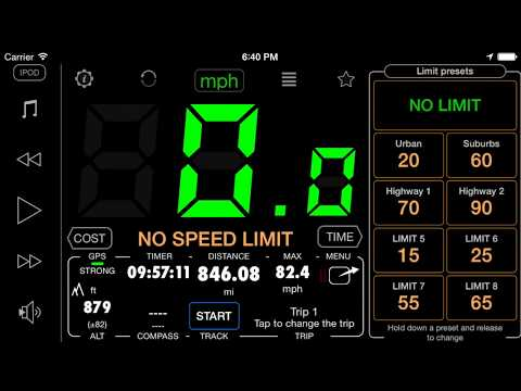 Heads-up (reflection) and full screen mode in iPhone/iPad speedometer. Version 1.6.