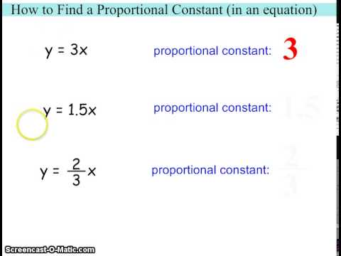 How to Find a Proportional Constant (in an equation)