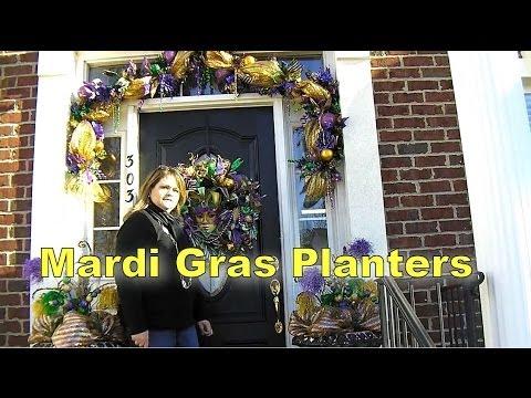 Deco Mesh Mardi Gras Decorating Planters