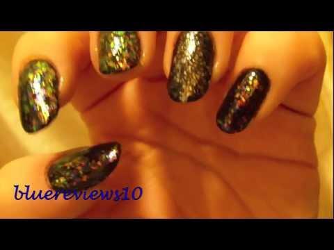 Finger Paints in Twisted Flakie, Sally Hansen Glass Slipper Flakie, Maybelline Black in Onynx Rush