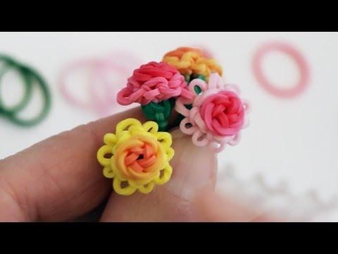 Rainbow Loom™  Mini Rose in Bloom Charm Tutorial
