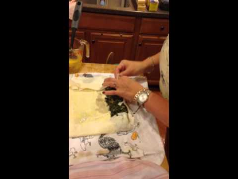 How to roll phyllo dough for Spinach Mushroom Strudel