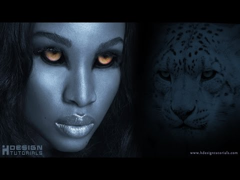 blending eyes of tiger on female face in photoshop