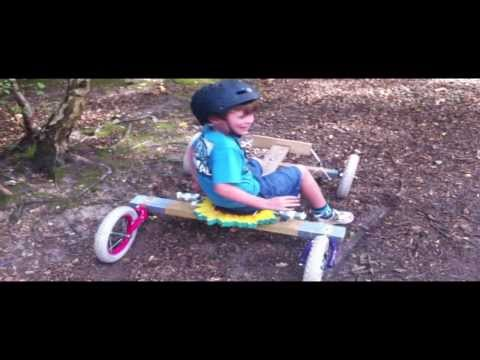 Off road go cart built from two old bikes and some wood