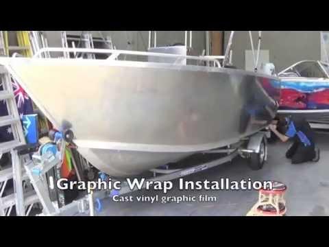 Boat Wrap - Printing - Laminating - Graphics install - HP 360 Latex Printer