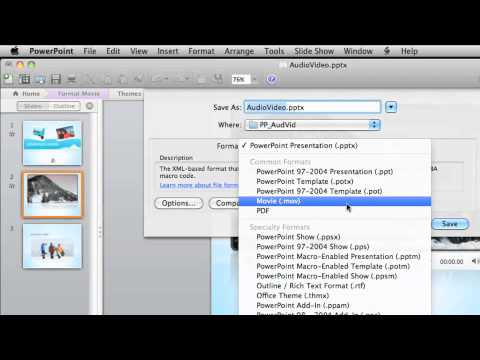 Lesson 4 - Saving audio and video with a PowerPoint presentation