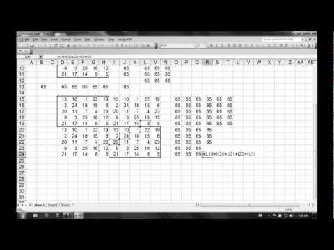 Using Magic Squares to learn adding in groups in MS Excel