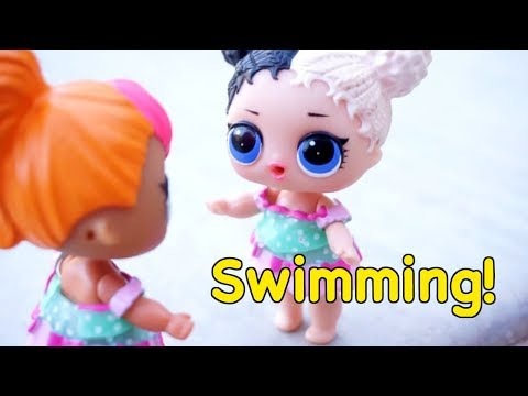 LOL SURPRISE DOLLS Swimming Lessons And Playing Video Collage!