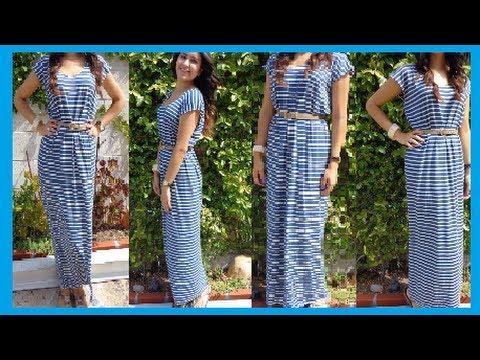 Fashion DIY How to make Easy Maxi Dress/ long Dress DamaV425