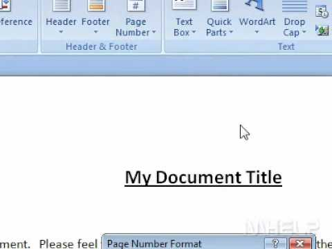 How to format page numbers in Word