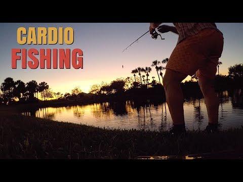 BASS FISHING IN FLORIDA GOLF COURSE PONDS! CARDIO FISHING!!!