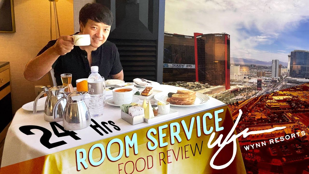Las Vegas WYNN CASINO Room Service FOOD REVIEW! Living on Room Service for 24 Hours