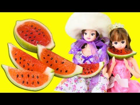 Making Watermelon Jello with Gelatin. Barbies Kids Animation