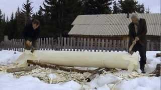 Dugout boat making in Siberia