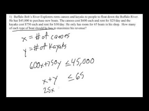 Linear Programming Word Problem Setup