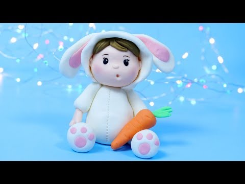 How To Make Fondant Bunny cake topper! Baby In Bunny Costume for Easter cake