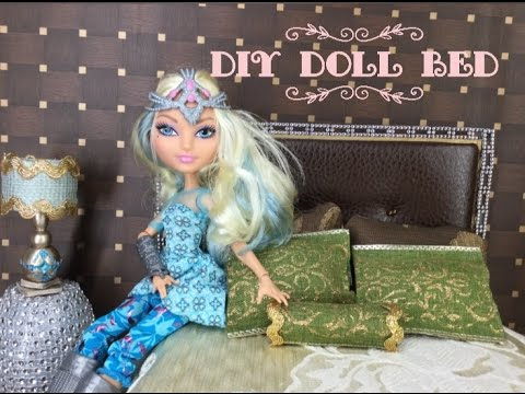 DIY- How to make: Doll Bed ||  Miniature Dollhouse Bedroom