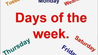 Inglese per bambini.Giorni della settimana.( canzone )