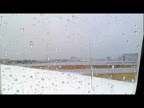 Rainy day through the airplane window