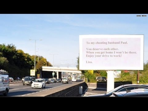 Wife calls out 'cheating husband' with billboard