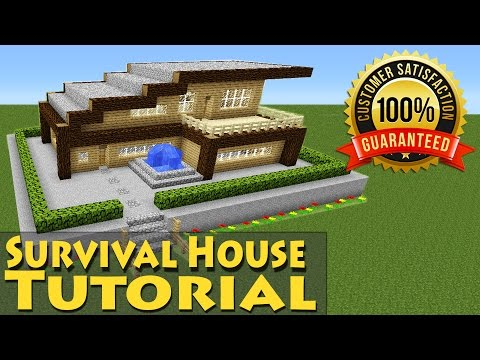 Minecraft: Easy Modern Wooden Survival House Tutorial #1 / How to Build / Starter /
