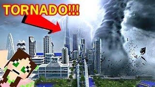TORNADO DESTROYS CITY IN MINECRAFT - TORNADO MOD SHOWCASE