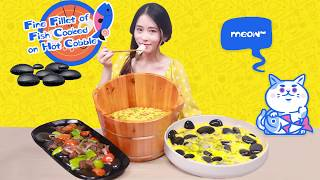 E60 Hot stone cooking the new cool dishes in my office | Ms Yeah