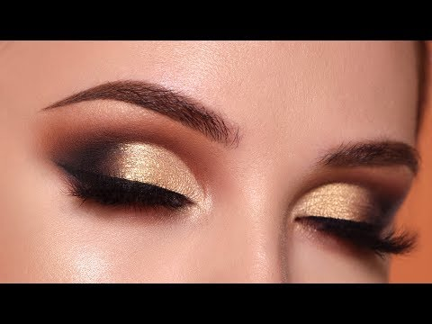 Glam Gold Smokey Eye Makeup Tutorial | Morphe 35O2 Palette