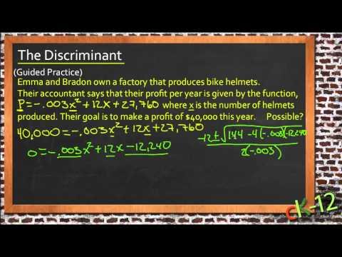 The Discriminant: An Application (Algebra I)