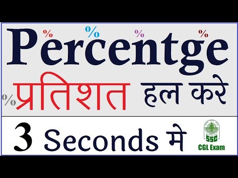 Percentage Fast Calculation Tricks for BANK PO & SSC CGL :प्रतिशत  Maths Short shortcuts