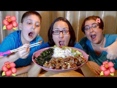 Hawaiian Poke Bowl | Gay Family Mukbang (먹방) - Eating Show