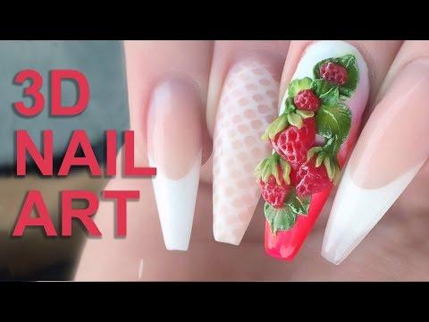 3D Acrylic Strawberries - Fresh Summer Fruits 3D Nail Art - Nail Tutorial Video