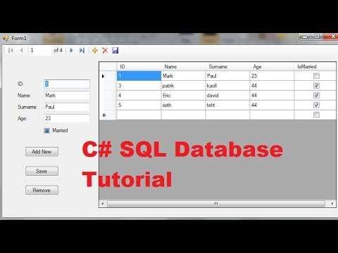C# SQL Database Tutorial 2: Add New ,Remove ,Save Data in Local Database using C#