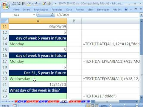 Excel Magic Trick 427: Determine Day Name For Future Date