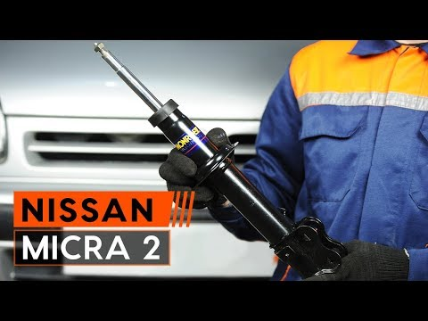 How to replace front shock absorber onNISSAN MICRA 2 Hatchback[TUTORIAL AUTODOC]