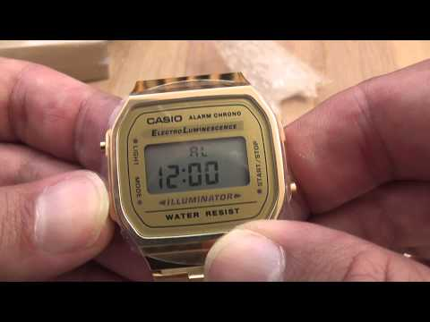 Casio Unisex Gold Digital Alarm Watch A168WG-9WDF