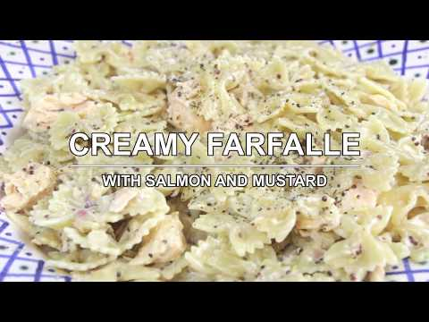Creamy farfalle with salmon and mustard
