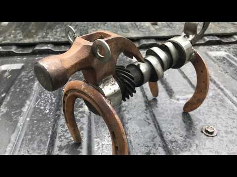 Weiner Dog Welded from Scrap Auto Parts, Horseshoes, Hammerhead