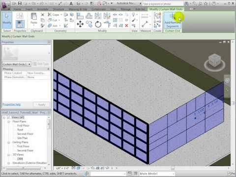 Revit Architecture - Adding and Removing Curtain Grids and Mullions