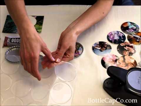 Bottle Cap Photo Fridge Magnets