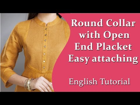 Perfect Round collar-Kurti collar neck  Simple & Easy Method - well explained English Tutorial